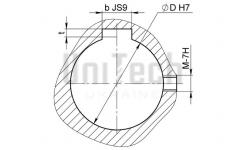 Расточка отверстия 22 мм + шпон паз 8 мм + гужон М8