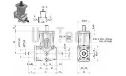 DZ L-форма AB 2 фланца i=1 D= 8 mm Конический редуктор