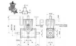 DZ L-форма AB 3 фланца i=1 D= 8 mm Конический редуктор