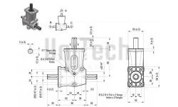 DZ L-форма AB 2 фланца i=1 D=15 mm Конический редуктор