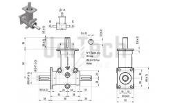 DZ L-форма AB 2 фланца i=2 D=15 mm Конический редуктор нержавеющий