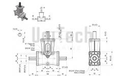 DZ L-форма AB 3 фланца i=1 D=15 mm Конический редуктор