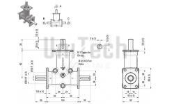 DZ L-форма AB 3 фланца i=1 D=15 mm Конический редуктор нержавеющий