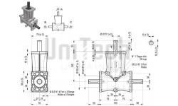 DZ L-форма AB 3 фланца i=1 D=20 mm Конический редуктор