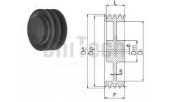 Шкив клиновой SPA 190/4 под расточку D=20-50