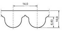 ремень зубчатый в погонных метрах полиуретановый HTD-14M