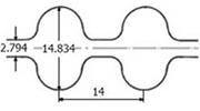 ремень зубчатый двусторонний метрический неопреновый HTD-14m