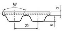 ремень зубчатый в погонных метрах полиуретановый AT20