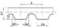 ремень зубчатый в погонных метрах полиуретановый AT5