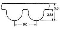 ремень зубчатый в погонных метрах полиуретановый HTD-8M