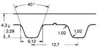 ремень зубчатый в погонных метрах полиуретановый H