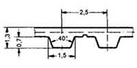 ремень зубчатый в погонных метрах полиуретановый T2.5