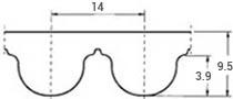 ремень зубчатый в погонных метрах неопреновый HTD-14M