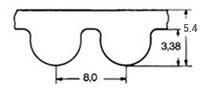 ремень зубчатый в погонных метрах неопреновый HTD-8M